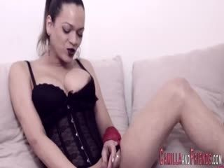 Horny Shemale Plays With Herself Solo