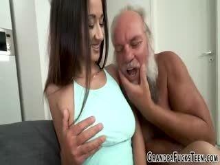 Teen Dribbles Geezers Cum