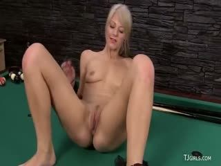 Two Stunning Blondes Playing With A Large Dildo