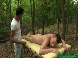 Masseur Gets Cock Sucked Outdoors