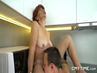 Old Ginger Lady Enjoying A Hard Cock