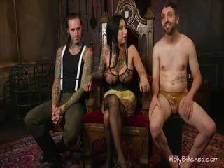 Busty Babe Enjoys Bondage With A Couple Of Dudes