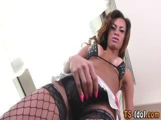 Latina Shemale Jerks Her Huge Shlong