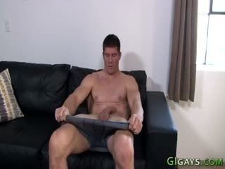 Bulked Up Soldier Jerks His Cock