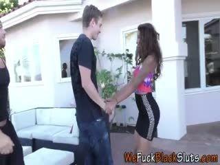 Ebony Teenager Gets Spitroasted