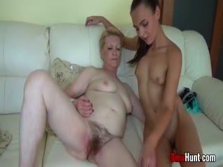 FFM Threesome With Cute Teen And Vigorous Grandma