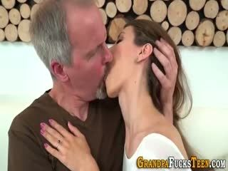 Skanky Teen Gives Blowjob To Grandad