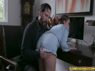 Jealous Stepdad Banging Lily Glees Tight Twat With His Rod