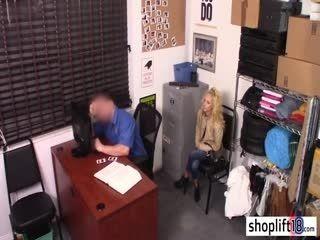 Small Blonde Teen Rode Huge Cops Dick In His Office