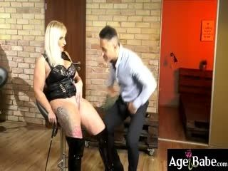 Kinky Anna Controls Her Client Mugur Into Licking Her Leather Boot