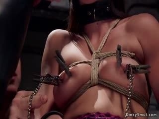 Babe In Lingerie Fucked In Group Bondage