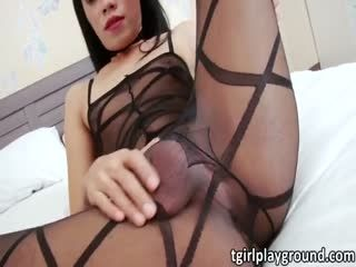 Asian Tgirl Yummy Solo Masturbation