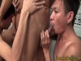 Asian Twink Pissed On In Threeway
