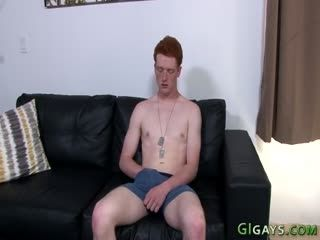 Redheaded Soldier Twink Jerks His Cock