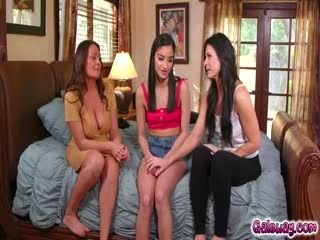 Emily Is Excited To Learn From Her Stepmoms Elexis And India How To Squirting