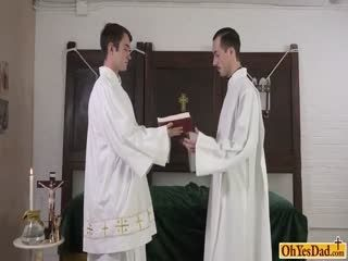 Old Priest Lets Twink Lick His Big Cock And Fucks Him