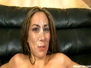 Latina degraded and covered with cum