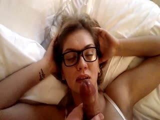 A Cute Blonde With Specks Sucking Cock