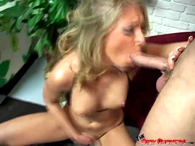 a hot blonde on her knees sucking cock porn video
