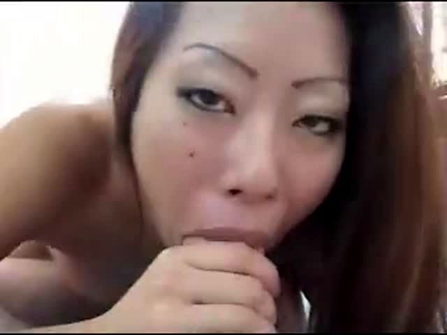 Asian bbw sucks white disk squirts and gets anal creampie
