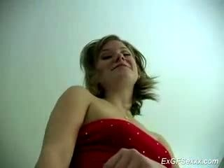 a shy blonde is sucking a big cock