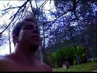 Ladyboy In Woods Takes On Two Large Uncut Dicls