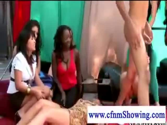 Cfnm babes have fun with lucky cock 4