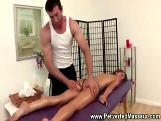 Hot pornstar babe gets fingered during massage
