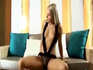 ultra sexy cute blonde on bed