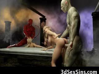 3D Satan And Demons Cum On Babes!
