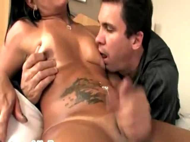 Horny brunette jerking her big dick 5